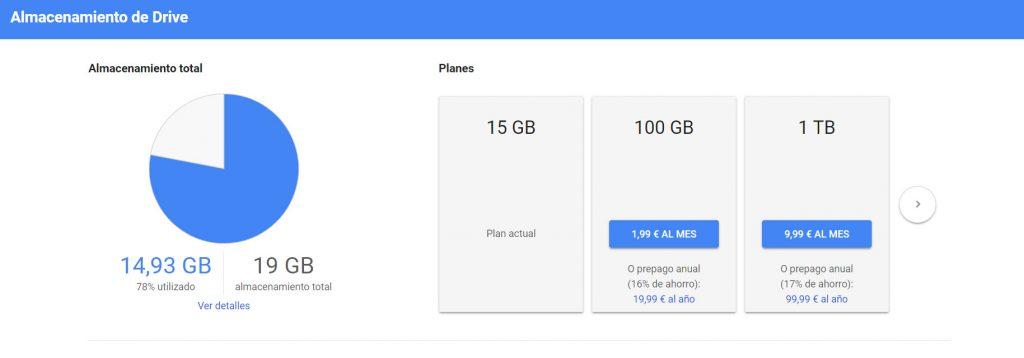 Planes de pago disponibles en Google Drive
